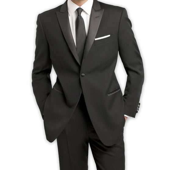 Slim Fit Black Tuxedo With Black Satin Peak Lapel 1 Button Design 2 Pieces - Mens Suits