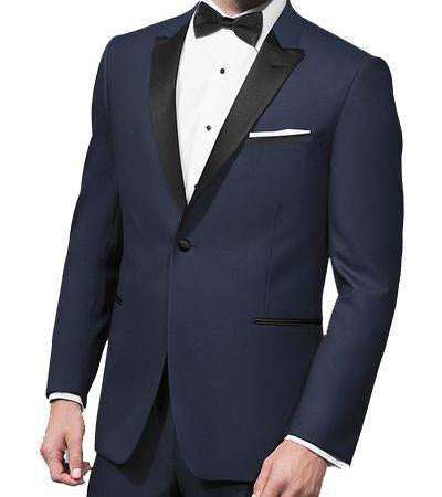 Navy Slim Fit Tuxedo 2 Piece with Satin Peak Lapel
