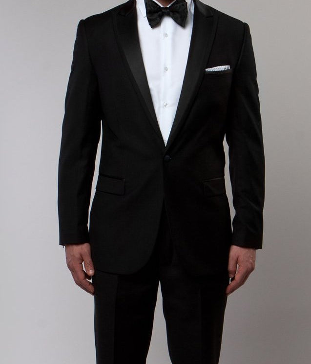 Black Slim Fit 2 Piece Tuxedo With Satin Peak Lapel - SUITS FOR MENS