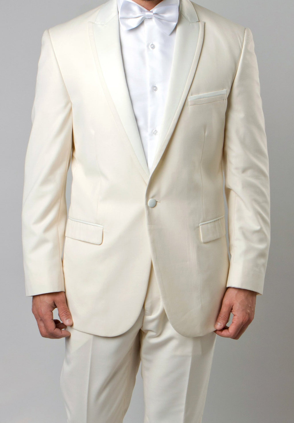 Ivory Slim Fit Tuxedo With Satin Peak Lapel 2 Pieces - SUITS OUTLETS
