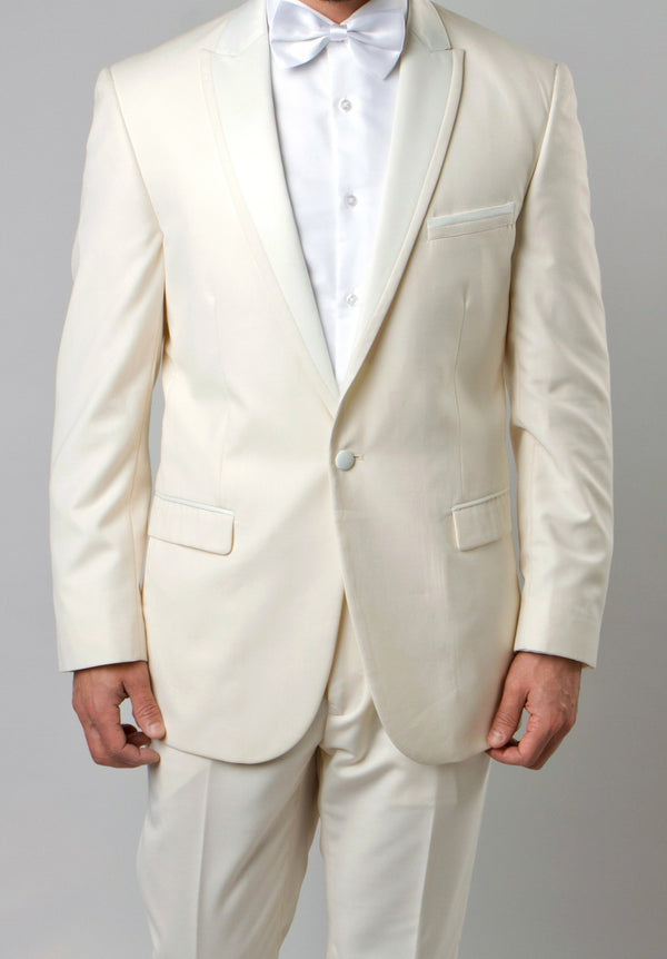 Ivory Slim Fit 2 Piece Tuxedo With Satin Peak Lapel - SUITS FOR MENS