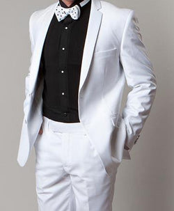 Regular Fit White 2 Piece Tuxedo With Slim Satin Lapel - SUITS FOR MENS