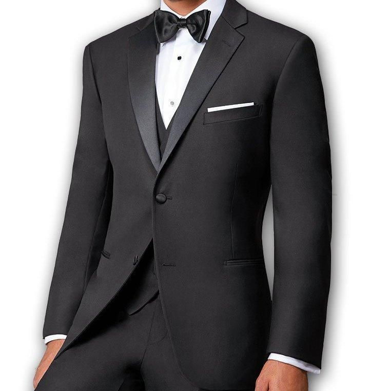 Slim Fit Black Tuxedo With Slim Satin Lapel 2 Pieces - Mens Suits