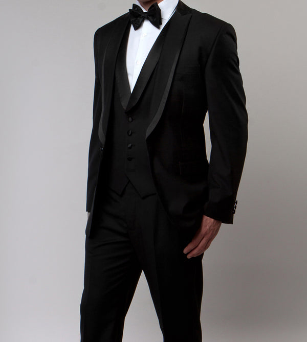 Black Slim Fit Tuxedo 3 Piece with Satin Shawl Collar Vest