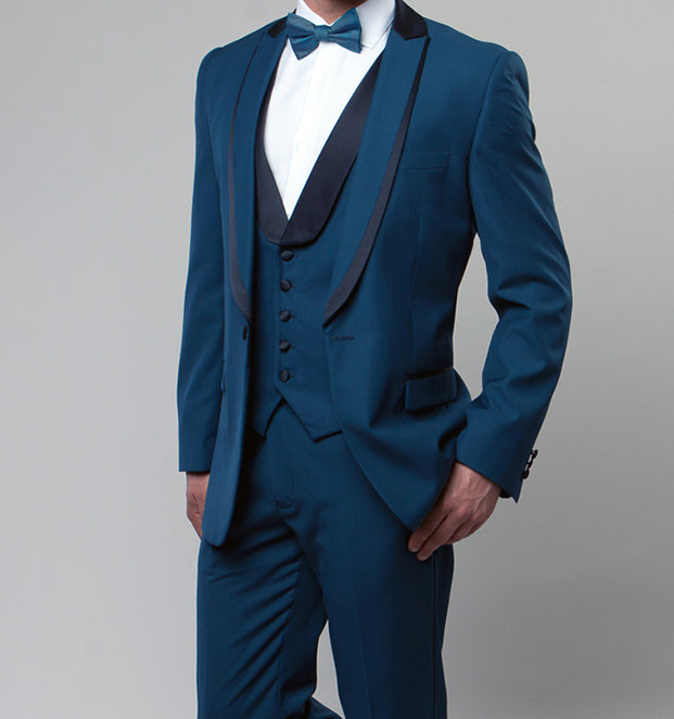Blue Slim Fit Tuxedo 3 Piece with Satin Shawl Collar Vest