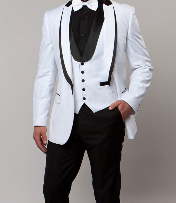 White Slim Fit Tuxedo 3 Piece with Satin Shawl Collar Vest