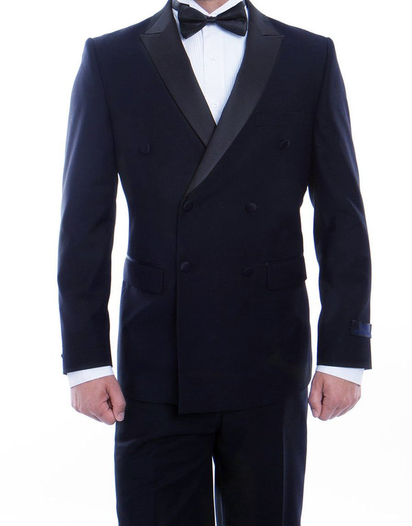 Double Breasted Slim Fit Tuxedo Navy with Black Satin Peak Lapel - SUITS FOR MENS