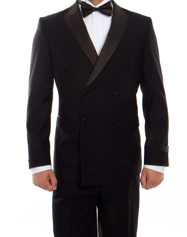 Double Breasted Slim Fit Tuxedo Black with Black Satin Peak Lapel - SUITS FOR MENS
