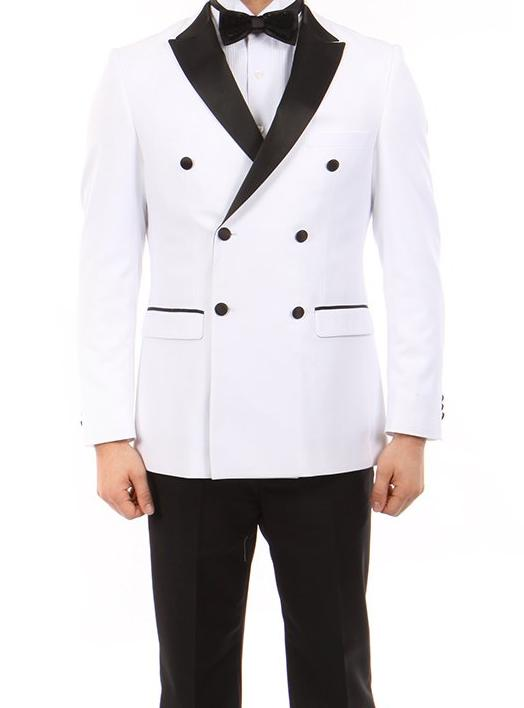 Double Breasted Slim Fit Tuxedo White with Black Satin Peak Lapel - SUITS FOR MENS