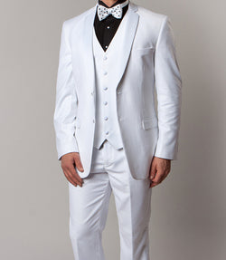 Solid White Modern Fit Tuxedo 3 Piece with 6 Button Vest