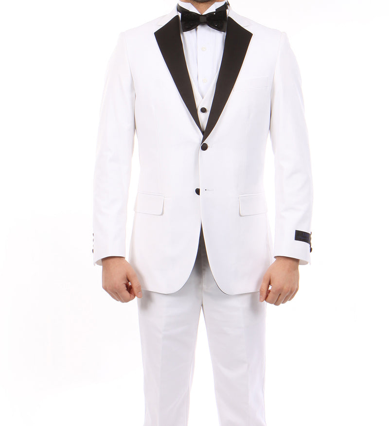 White Modern Fit Tuxedo 3 Piece with Black Lapel 6 Button Vest