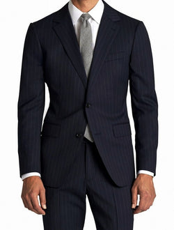 Men's Modern Fit Wool Suit Pinstripe Dark Navy - SUITS FOR MENS