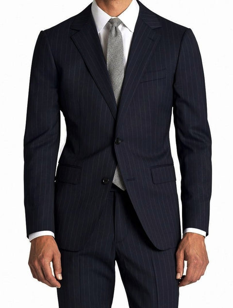 Men's Modern Fit Wool Suit Pinstripe Dark Navy - SUITS OUTLETS