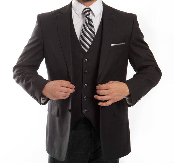 Modern Fit Fine Wool Suit Window Pane 3 Piece Charcoal Black - Mens Suits