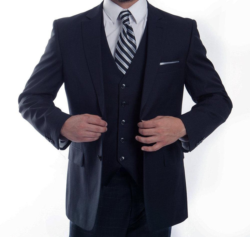 Modern Fit 3 Piece Fine Wool Suit Windowpane Navy - SUITS FOR MENS
