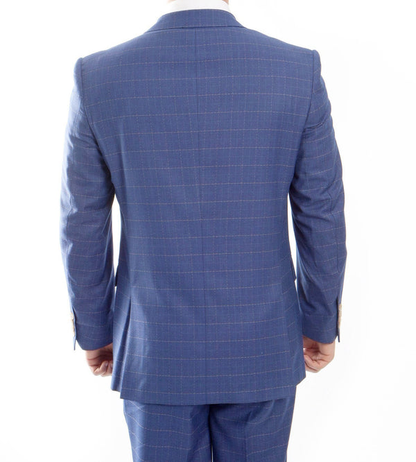 Modern Fit Fine Wool Suit Window Pane 3 Piece With Vest in Blue - Mens Suits