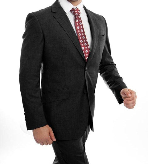 Wool Suit Modern Fit Italian Style 2 Pieces in Black - SUITS OUTLETS