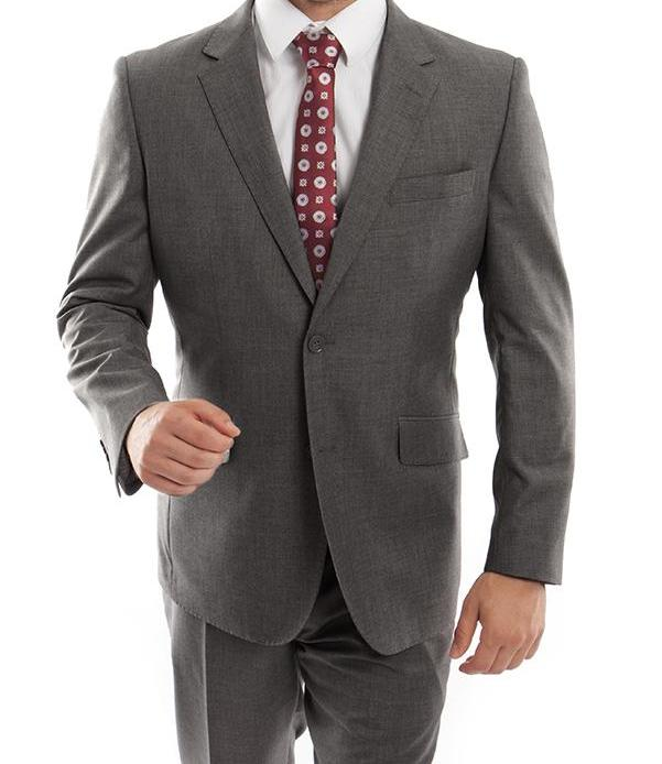 Wool Suit Modern Fit Italian Style 2 Pieces in Dark Gray - SUITS OUTLETS