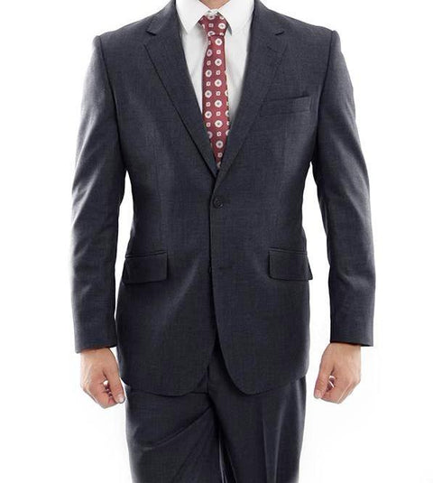 Wool Suit Modern Fit Italian Style 2 Pieces in Navy - SUITS OUTLETS
