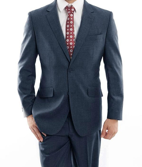 Wool Suit Modern Fit Italian Style 2 Pieces in Indigo - SUITS OUTLETS