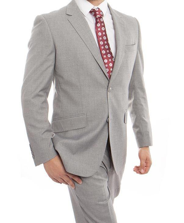Wool Suit Modern Fit Italian Style 2 Pieces in Gray - Mens Suits