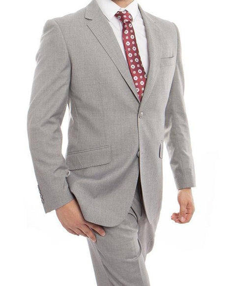 Wool Suit Modern Fit Italian Style 2 Pieces in Gray - SUITS OUTLETS