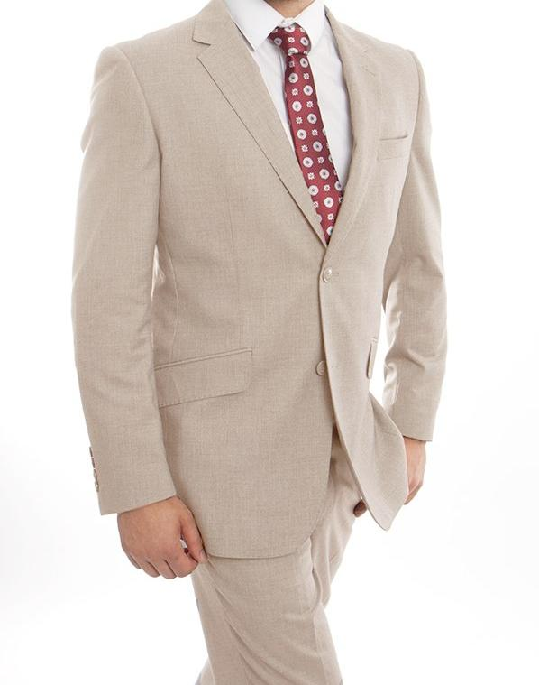 Wool Suit Modern Fit Italian Style With Flat Front Pants 2 Pieces in Tan - SUITS OUTLETS