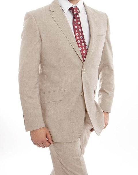 Wool Suit Modern Fit Italian Style 2 Pieces in Tan - SUITS OUTLETS