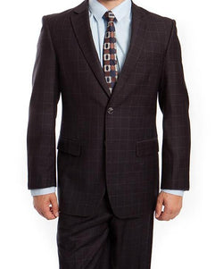 Wool Suit Modern Fit Windowpane 2 Piece in Black