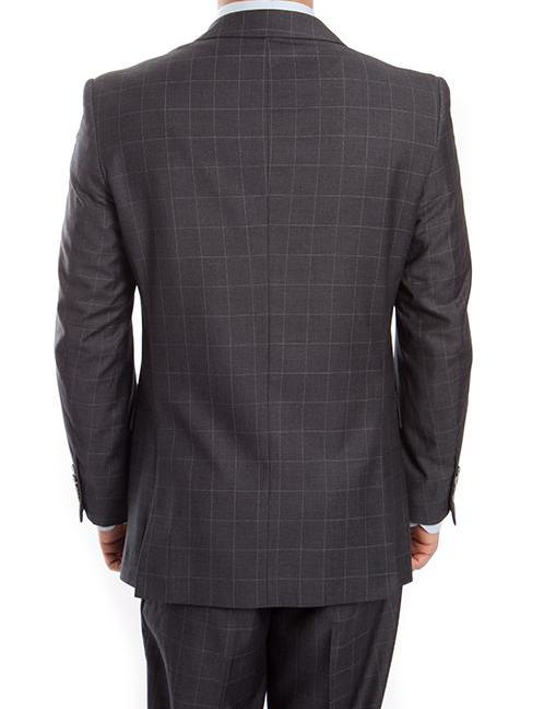 Wool Suit Modern Fit Windowpane 2 Piece in Dark Gray - SUITS FOR MENS