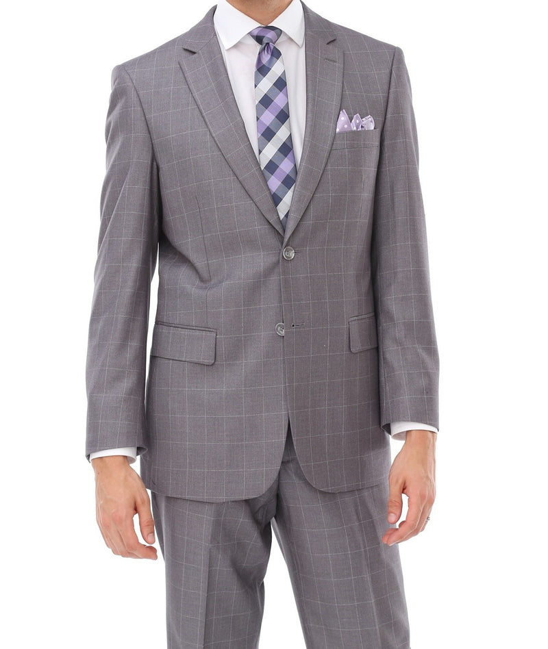 Wool Suit Modern Fit Windowpane 2 Piece in Light Gray - SUITS FOR MENS