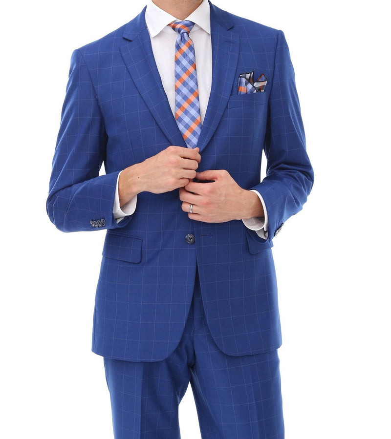 Wool Suit Modern Fit Windowpane 2 Piece in Royal - SUITS FOR MENS