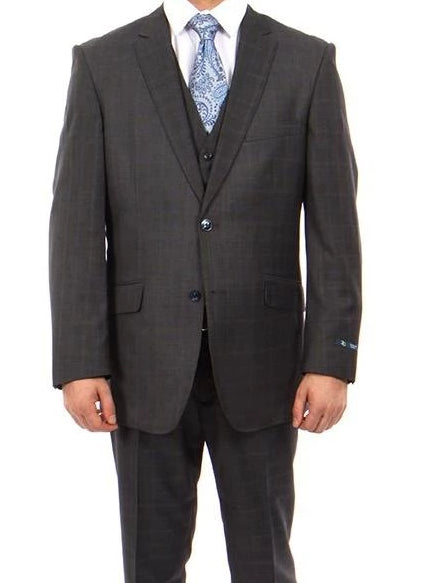 Wool Suit Modern Fit Windowpane 3 Piece in Dark Gray - SUITS FOR MENS