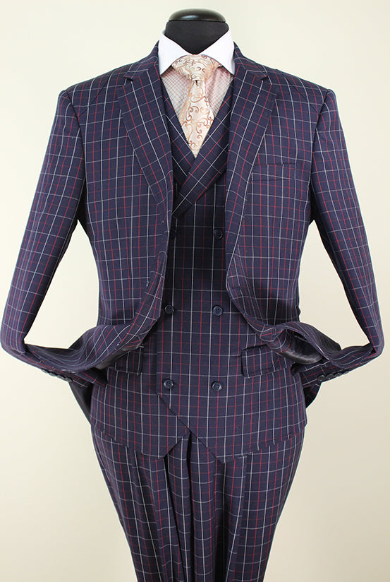 Italian Royal Collection - Cashmere Wool Suit 3 Piece 2 Buttons Navy - SUITS OUTLETS
