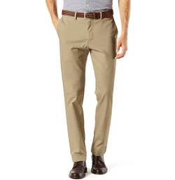 Beige Slim Fit Dress Pants Flat Front Pre-hemmed - SUITS FOR MENS