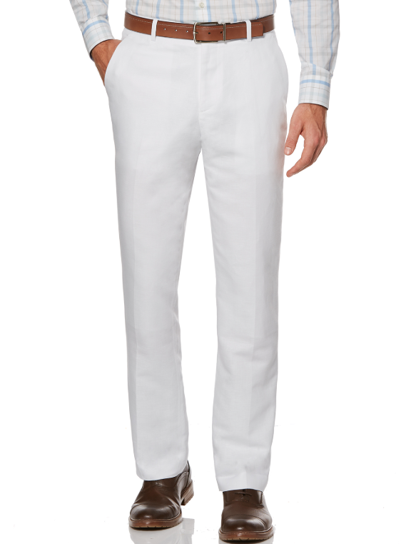 White Slim Fit Dress Pants Flat Front Pre-hemmed