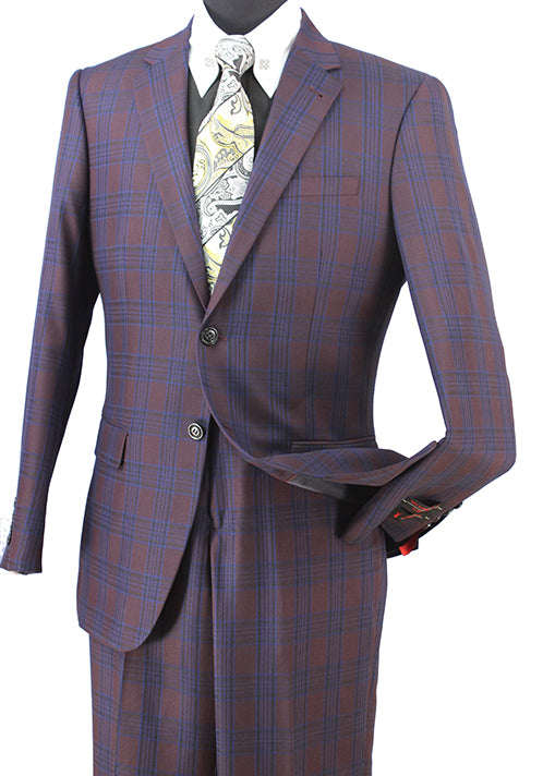Plum Wool Blend Regular Fit Tone on Tone Check 2 Piece Suit