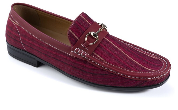 Asymmetrical Prints Men's Burgundy Striped Fashion Loafers Slip-On Shoes - SUITS FOR MENS
