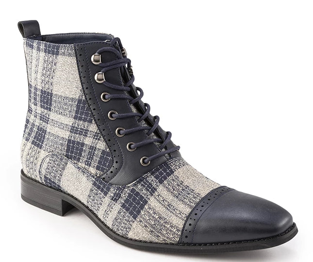 Gray Glen Check Asymmetrical Prints Men's Fashion Boots Shoes - SUITS FOR MENS