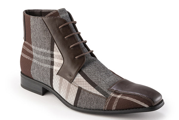 Brown Asymmetrical Prints Men's Casual Fashion Boots Shoes - SUITS FOR MENS
