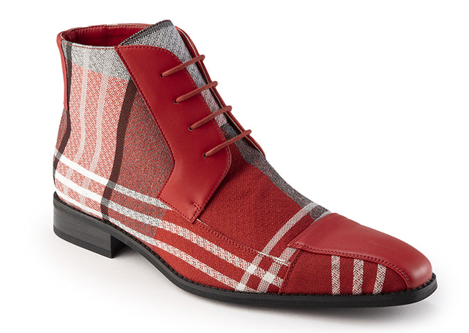 Red Asymmetrical Prints Men's Casual Fashion Boots Shoes - SUITS FOR MENS
