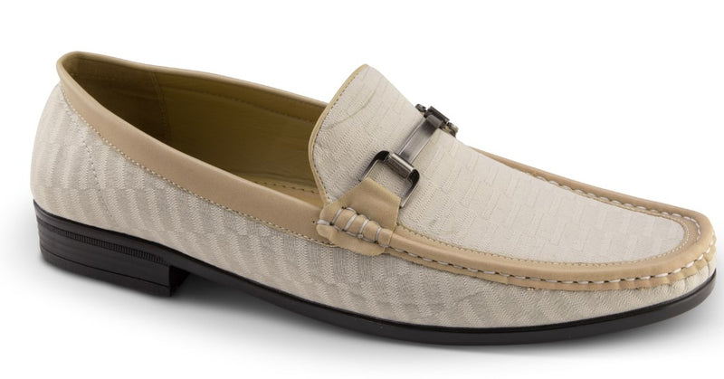 Men's Fashion Loafers Slip-On Shoes Tone on Tone in Beige