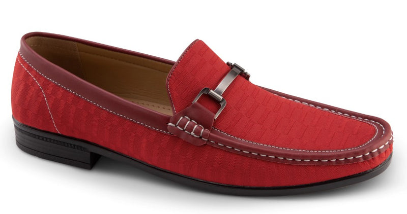 Men's Fashion Loafers Slip-On Shoes Tone on Tone in Red