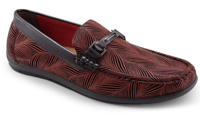 Burgundy Fashion Loafers Slip-On Shoes Asymmetrical Prints