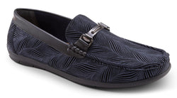 Navy Fashion Loafers Slip-On Shoes Asymmetrical Prints