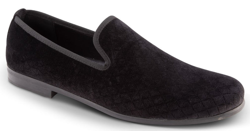 Black Fashion Loafers Slip-On Shoes Diamond Design