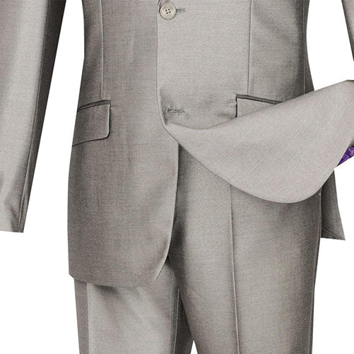 Slim Fit Shiny Sharkskin Men's 2 Piece Suit in Gray - SUITS FOR MENS