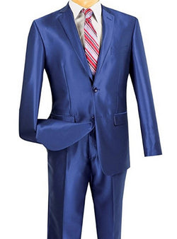 President Collection - Blue Shark Skin 2 Piece 2 Button Slim Fit Suit - SUITS OUTLETS