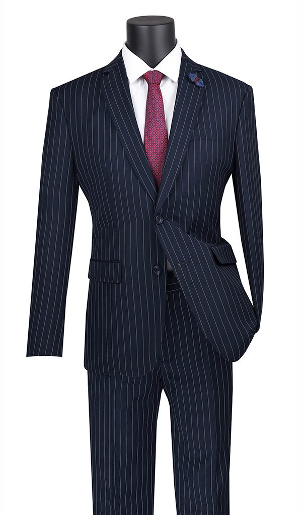 Slim Fit 2 Piece Suit Stripe in Navy
