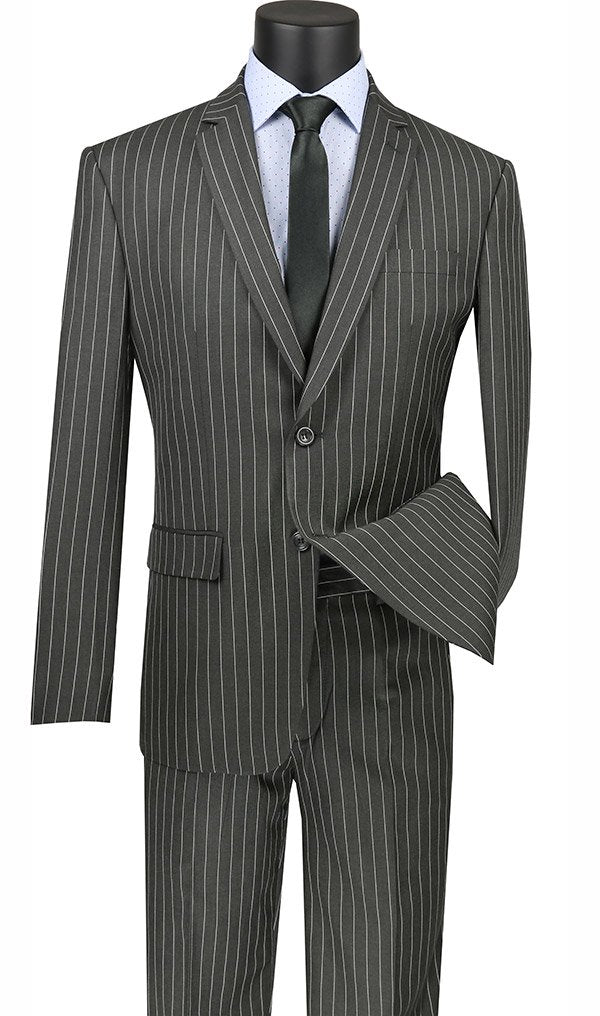 Slim Fit 2 Piece Suit Stripe in Gray